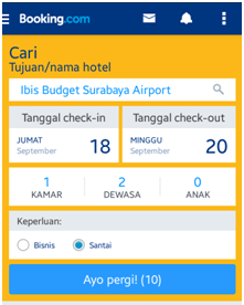 Gambar Tampilan halaman pencarian hotel pada aplikasi Booking.com