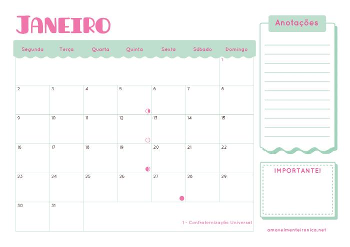 Planner Mensal 2017 | Amavelmente Irônica
