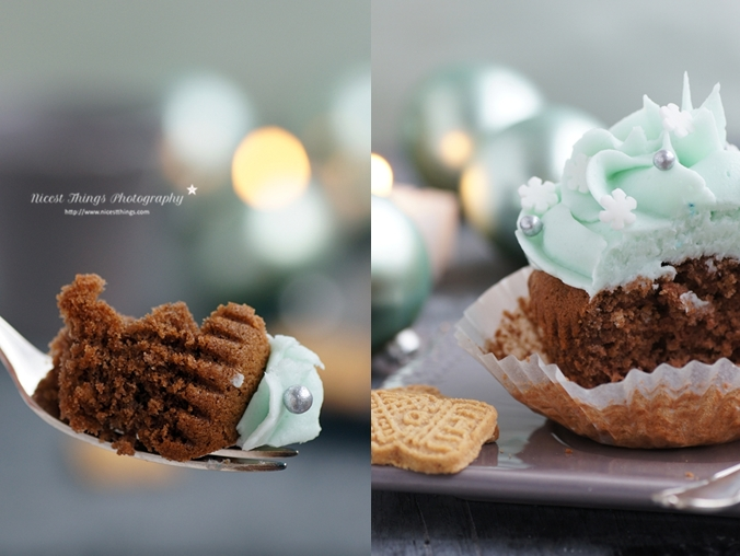 Spekulatius Cupcake Teig auf Gabel