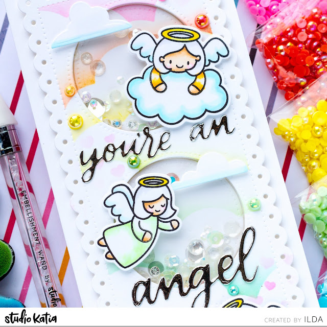Heffy Doodle, Studio Katia, Blog Hop, Angel, Slimline, Shaker Card, Pearls, Rainbow, Card Making, Stamping, Die Cutting, handmade card, ilovedoingallthingscrafty, Stamps, how to, Atelier Inks, Ink Blending,