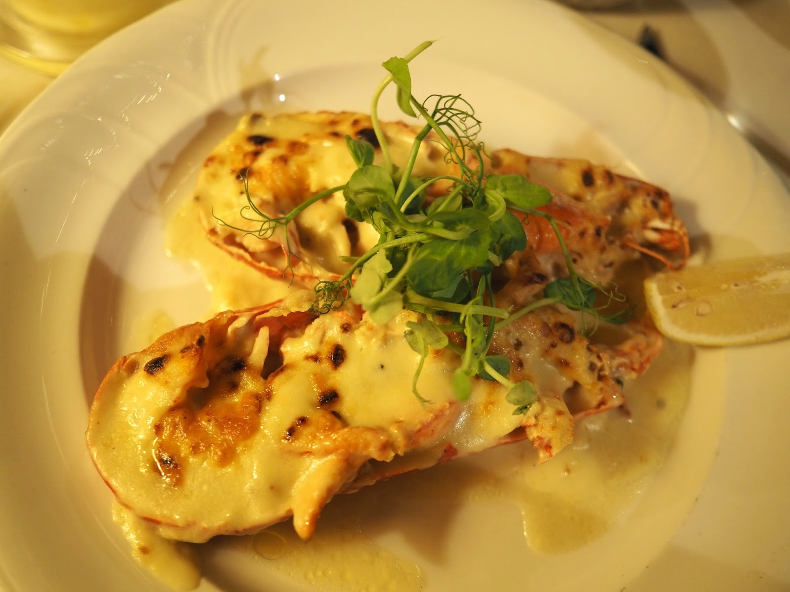 Lobster Thermidor caught in Scarborough Ramus Lobster Festival Le Caveau, excellent French restaurant in Skipton, North Yorkshire