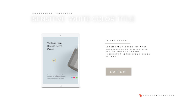 iPad Mockup of Premium PowerPoint Template with Whit Title
