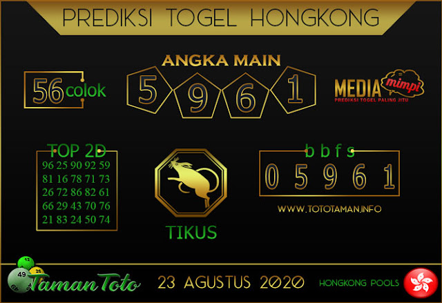Prediksi Togel HONGKONG TAMAN TOTO 21 AGUSTUS 2020