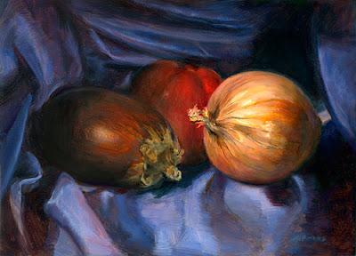 Eggplant Tomato Onion Still Life by Jeff Ward