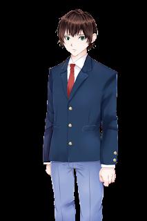 困っている紺色のブレザー制服の学生の立ち絵フリー素材