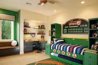 Habitación juvenil azul verde