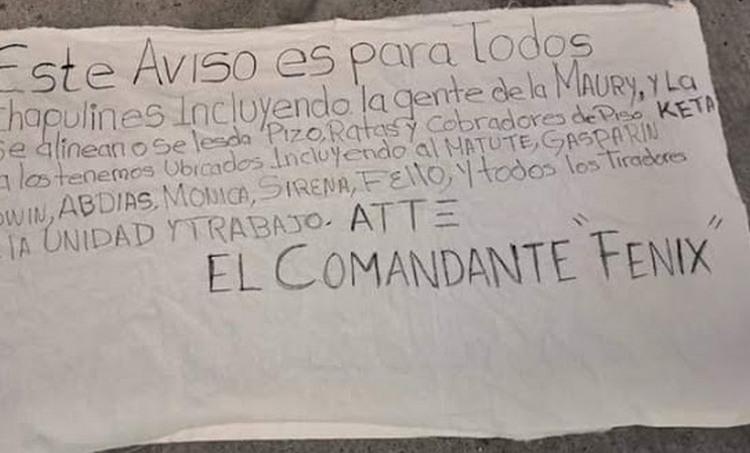 """""""Se alinean o les damos piso, ratas y cobradores de piso"""", """"Comandante Fenix"""" deja narcomanta amenazando a toda la bola de Chapulines en Veracruz"""