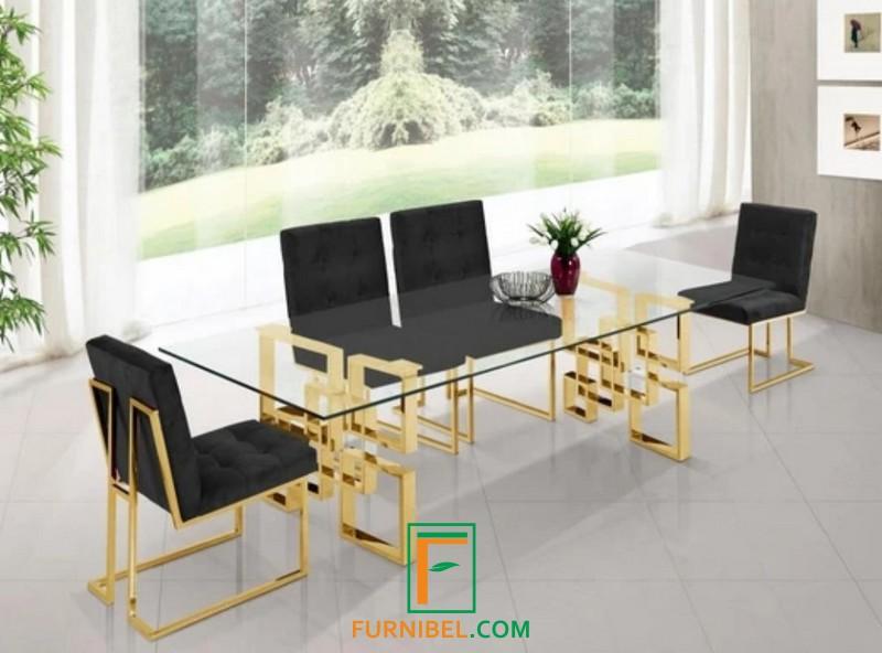 Set Meja Makan 4 Kursi Stainless Gold Mirror Minimalis