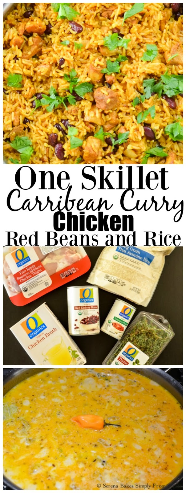 One Skillet Caribbean Curry Chicken Red Beans and Rice an easy dinner in under 30 minutes!  serenabakessimplyfromscratch.com
