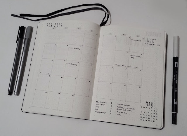 February Bullet Journal Monthly Calendar Overview 2017