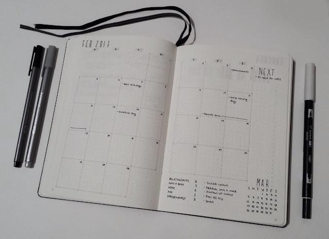 February Bullet Journal Monthly Calendar Overview 2017