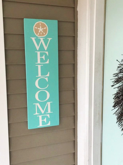 Turquoise Wood Plank Welcome Sign Vertical