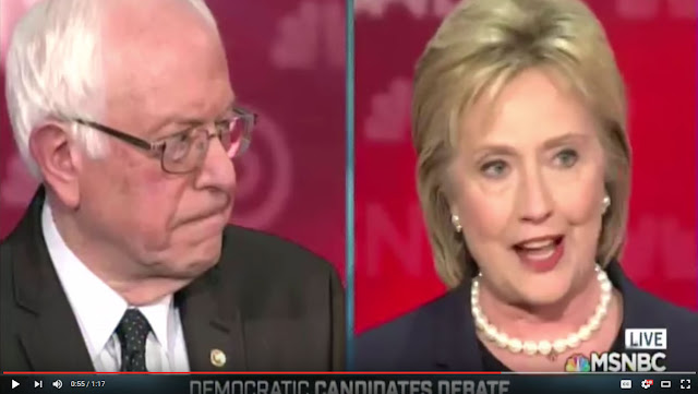 A Screen Capture From The Video:  Hillary Clinton Lies At A Democrat Debate