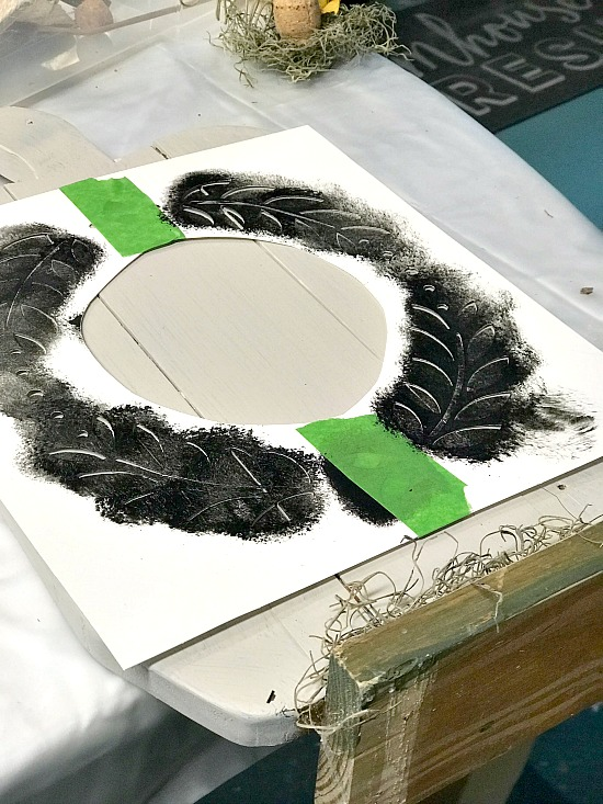 Wreath stenciled pumpkin pallet shape