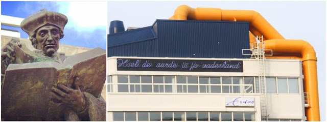 """Estatua de Erasmo en Rotterdam – Cita de Erasmo inscrita en la Biblioteca Central de Rotterdam, """"Mi patria es el mundo"""""""