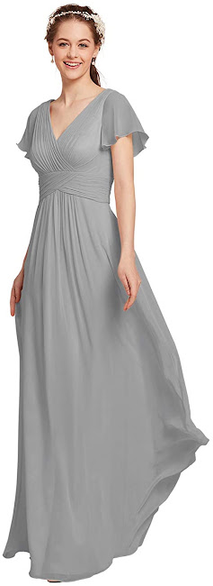 Pretty Grey Chiffon Bridesmaid Dresses