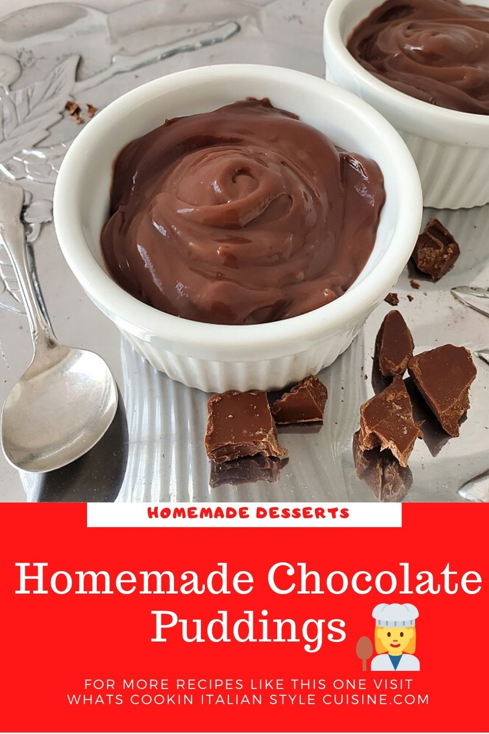 this is a pin on how to make homemade chocolate pudding