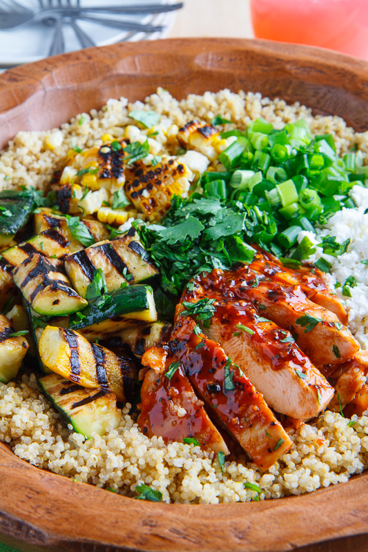 Grilled BBQ Chicken, Zucchini and Corn Quinoa Salad