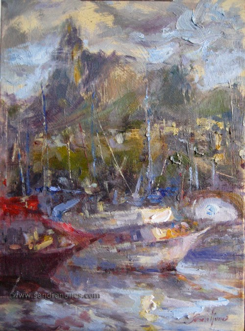 Oil on wood panel, Winter Light in Urca