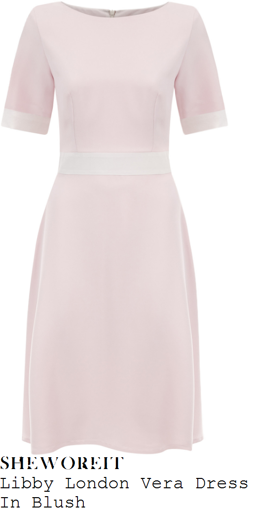 holly-willoughby-libby-london-vera-pale-blush-pink-and-white-short-sleeve-contrast-cuff-and-waist-panel-detail-a-line-skater-dress