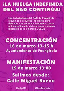 Las trabajadoras han convocado una concentración para el próximo día 16 de marzo y una manifestación el 19 que recorrerá Fuengirola
