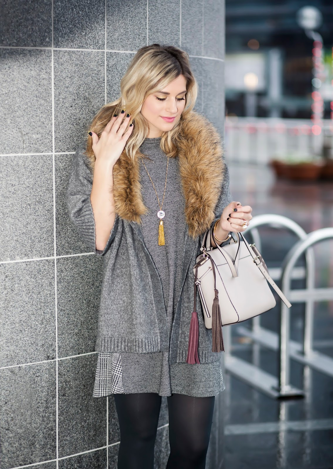 Bijuleni - Faux Fur grey cardi, Zara grey shift dress, grey tights, Steve Madden suede booties and Kate Spade Handbag