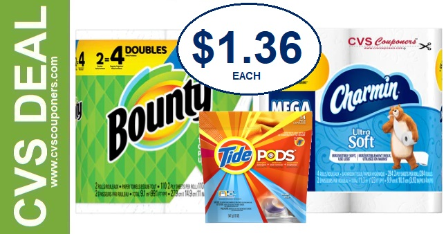 Charmin, Bounty or Tide CVS Deal $1.36 2-9-2-15