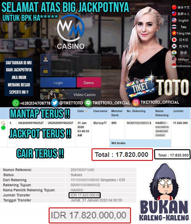 Jackpot Baccarat Untuk Provider WM Casino Pada 31 Januari 2020