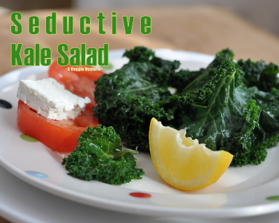 Seductive Kale Salad, another healthy salad ♥ AVeggieVenture.com. Quick. Vegan. Naturally Gluten Free. Very Weight Watchers Friendly.