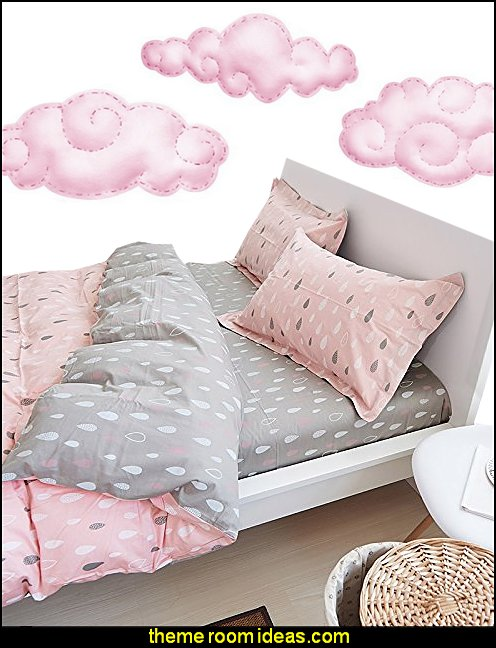 Pink Rain Drop Duvet Cover Set  Pink Cloud Wall Decals