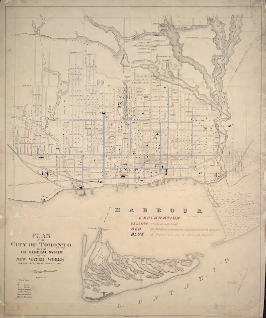 1876 Plan of the City of Toronto, shewing the general system of the new water works and positon of all the new pipe laid.