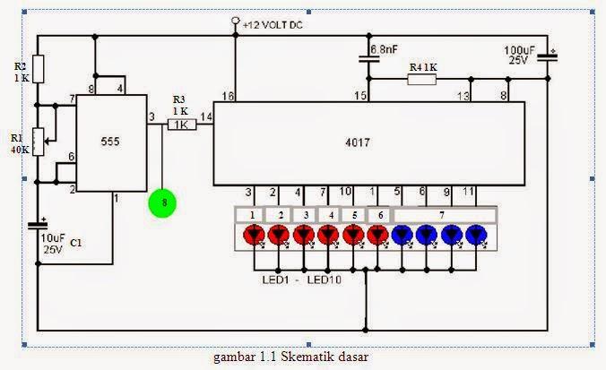 electronic  membuat simulasi runing led dengan isis proteus