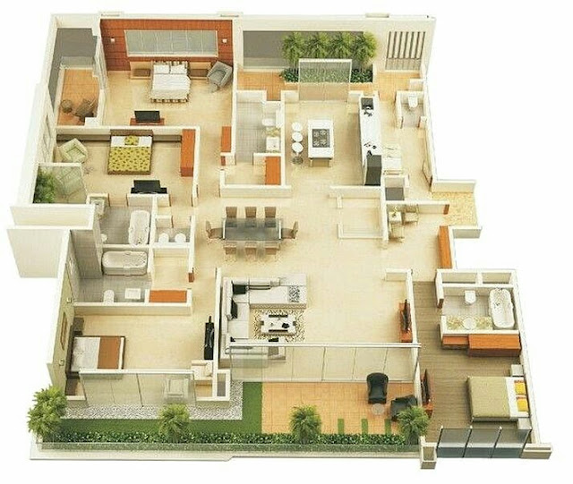 Small House Plans With 4 bedroom 3D Photos