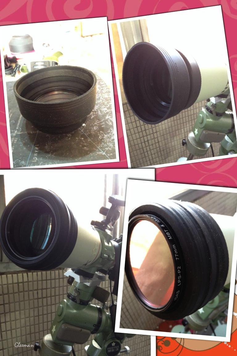 將有相機鏡頭用的77mm牙的塑膠環的橡膠遮光罩直接套進P75的遮光罩前剛剛好緊。這樣除了在對焦座套筒內的58mm牙可以裝濾鏡外,也多了一種選擇可以使用77mm的 濾鏡前置。