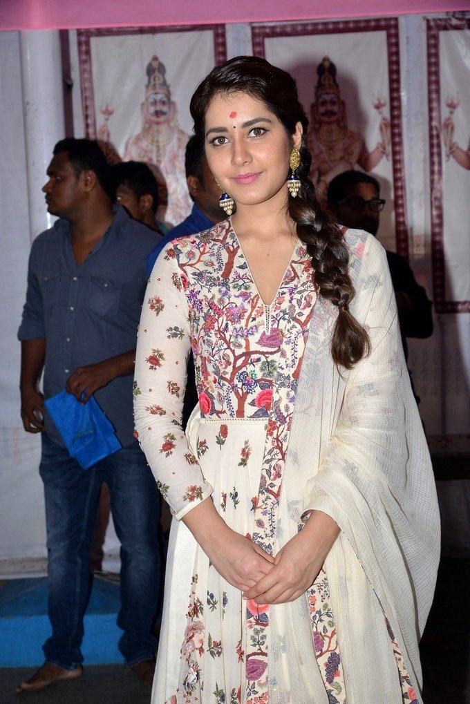 Rashi Khanna Stills At SVC Productions New Telugu Movie Launch