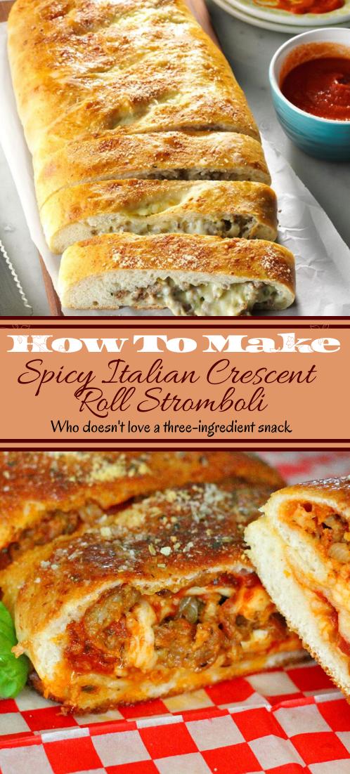 Spicy Italian Crescent Roll Stromboli #dinnerrecipe #food #amazingrecipe #easyrecipe