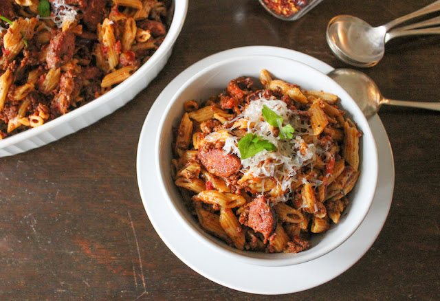 Food Lust People Love: This flavorful Beef and Smoked Sausage Goulash is made in an Instant Pot, first up is the wonderfully rich meaty tomato sauce and then the (uncooked!) pasta is added. No fuss, no trouble, very delicious!