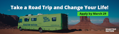 Graphic shows an rv in the desert