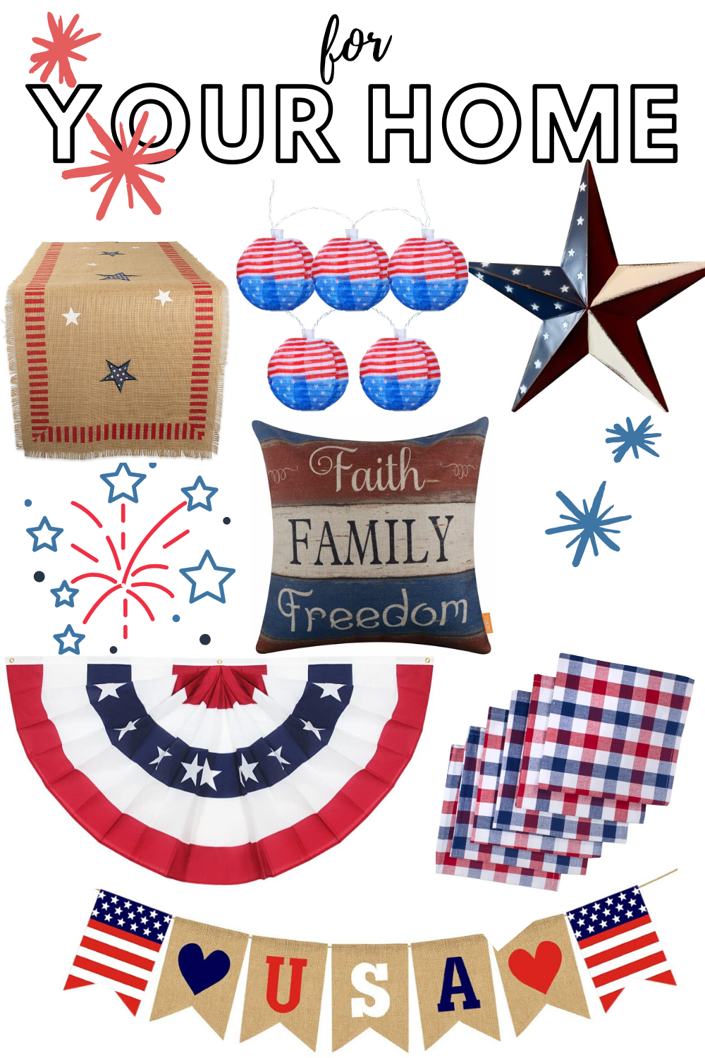 4th of July, patriotic, red white and blue,