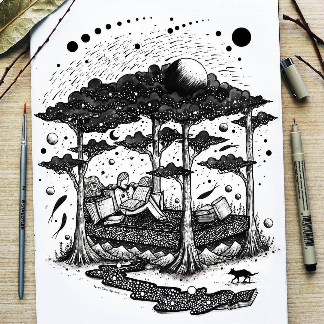 01-Bed-of-dreams-Meni-Chatzipanagiotou-Fantasy-and-Surreal-Ink-Illustrations-www-designstack-co