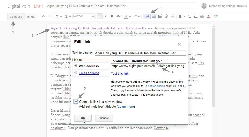 memasang link blog