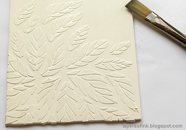 Layers of ink - Tumbling Leaves Canvas Tutorial by Anna-Karin Evaldsson. Paint the canvas with gesso.