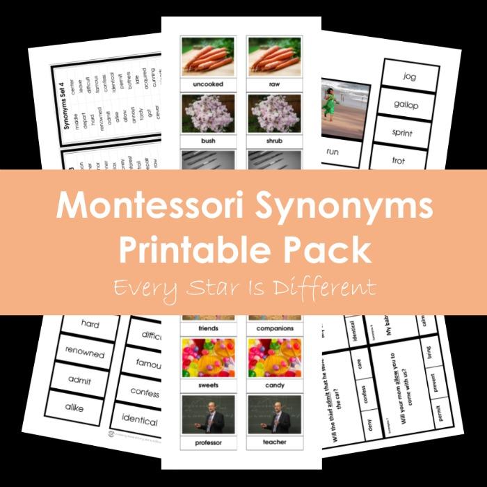 Montessori Synonyms Printable Pack