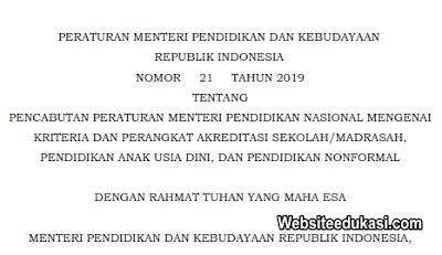 Permendikbud Nomor 21 Tahun 2019 Pencabutan Kriteria Akreditasi Sekolah/Madrasah