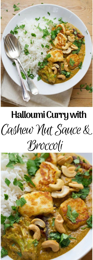 Halloumi Curry with Cashew Nut Sauce and Broccoli #cashewnut #vegetarian