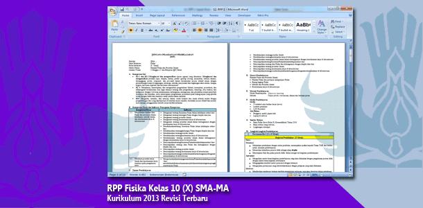 RPP Fisika Kelas 10 (X) SMA-MA Kurikulum 2013 Revisi Terbaru Tahun 2019-2020