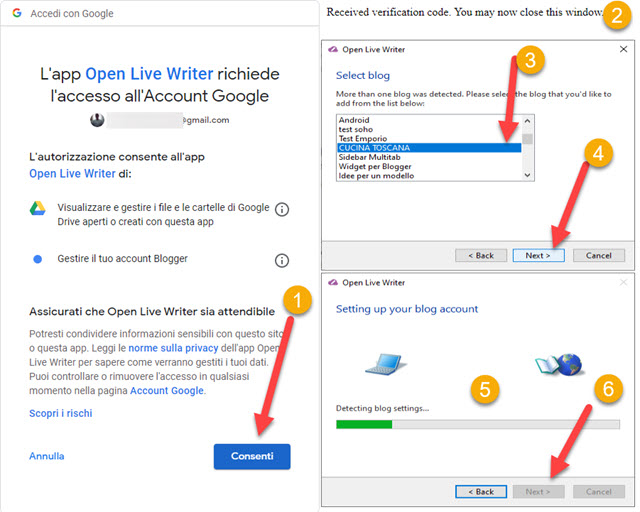 accedere account google di blogger per aggiungere blog