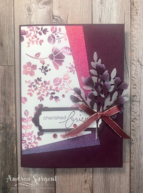 Andrea Sargent, Stampin' Up!, Lovely You, Forever Greenery, Blackberry Bliss, Baby Wipe Technique
