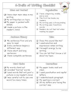 Free 6 Traits Writing Checklist
