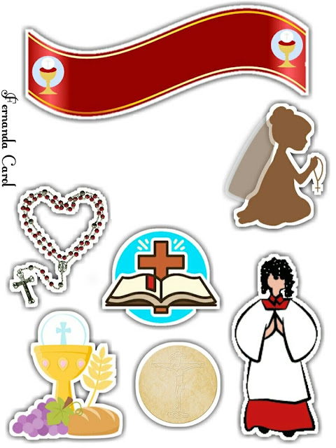 Girl First Communion: Free Printable Cake Toppers.